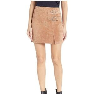 BLANK NYC Tan Suede Double Buckle Mini Skirt